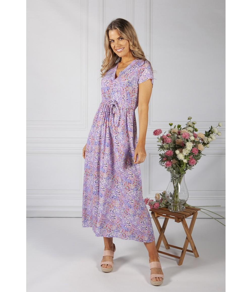 Zapara Lilac Floral Print Dress