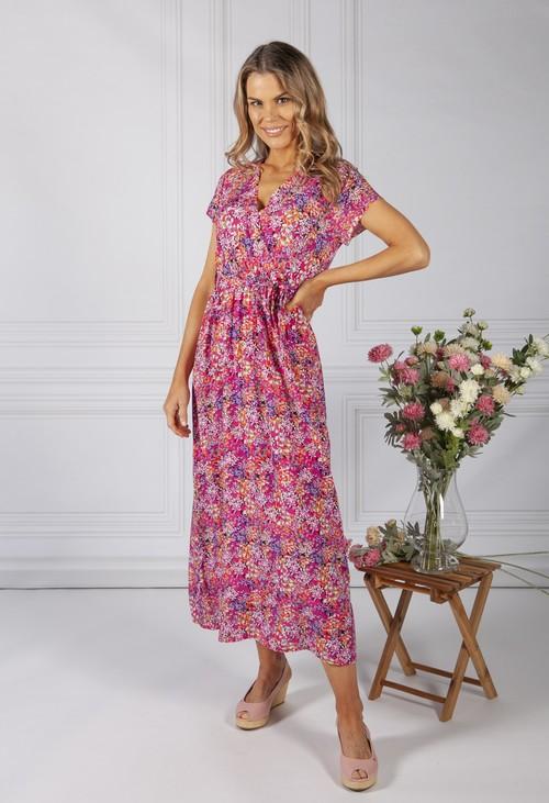 Zapara Bright Pink Floral Print Dress