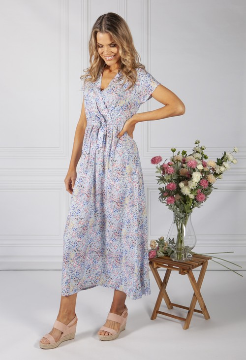 Zapara Light Blue Floral Print Dress