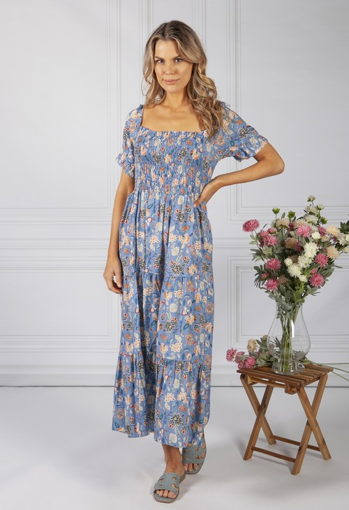 Zapara Vintage Print Dress in Summer Blue