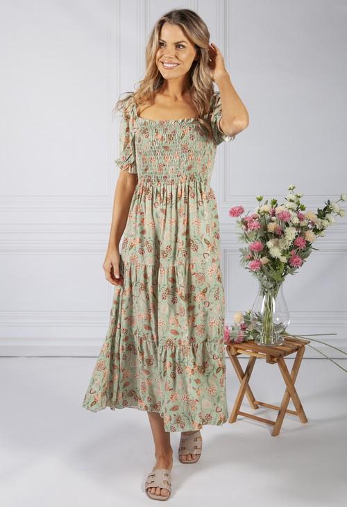 Zapara Vintage Print Dress in Sage