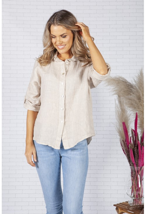 Zapara Beige Relaxed Fit Linen Shirt