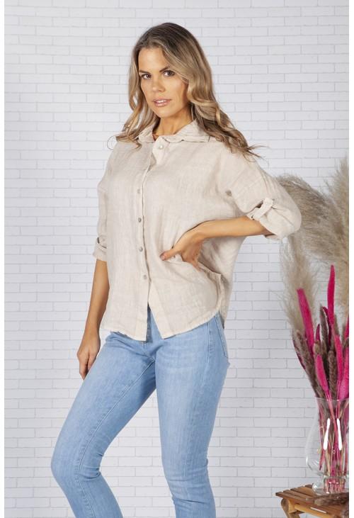 Zapara Beige Relaxed Fit Linen Shirt
