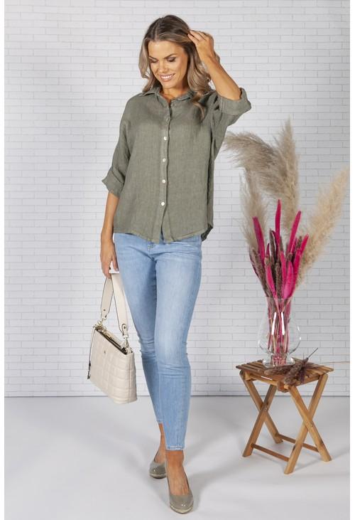 Zapara Khaki Relaxed Fit Linen Shirt