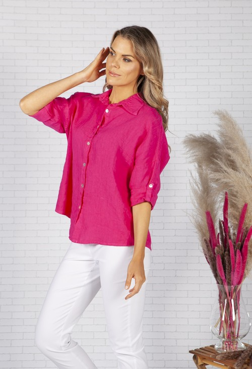 Zapara Fuchsia Relaxed Fit Linen Shirt