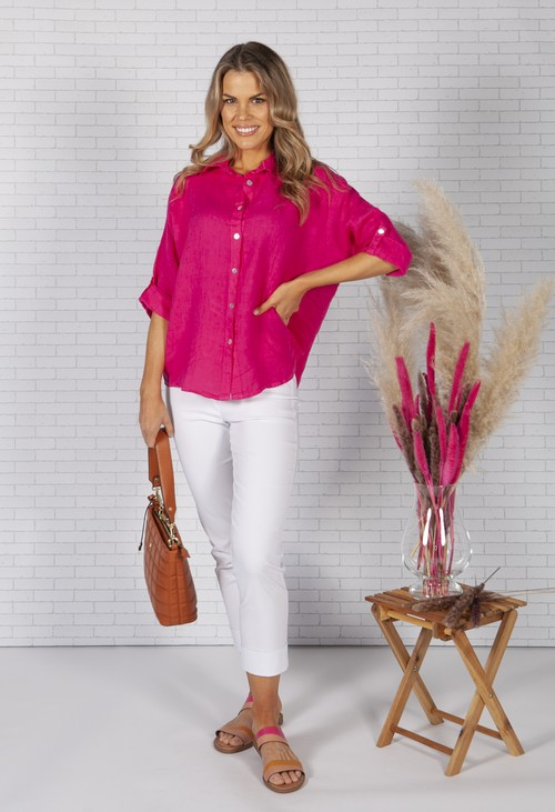 Zapara Fuchsia Relaxed Fit Linen Shirt