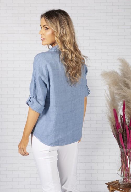 Zapara Cornflower Blue Relaxed Fit Linen Shirt