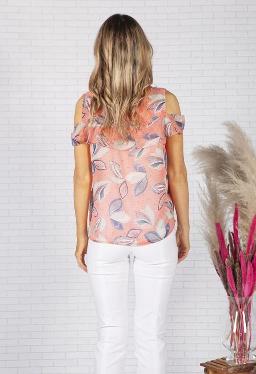Zapara Coral Leaf Print Top