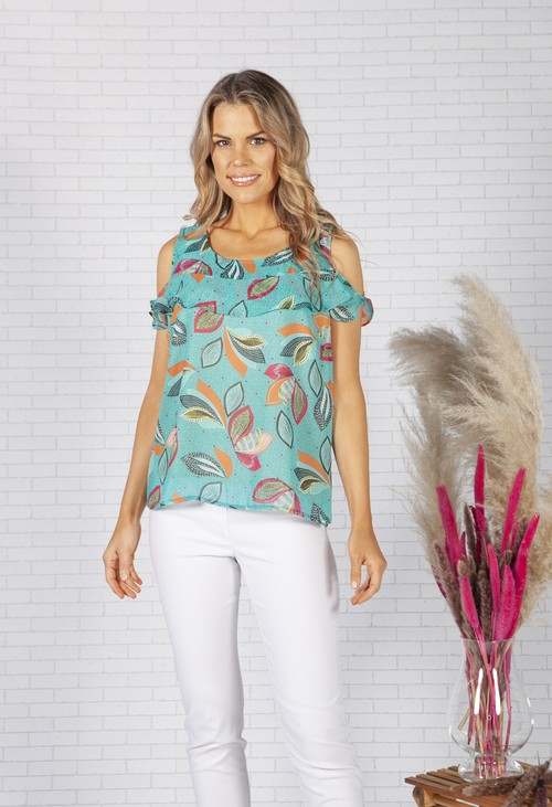 Zapara Green Leaf Print Top