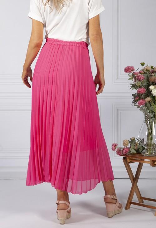 Zapara Fuchsia Pleated Skirt
