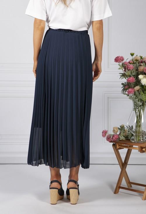 Zapara Navy Pleated Skirt