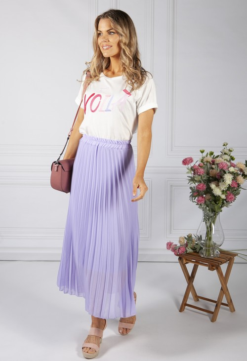 Zapara Lilac Pleated Skirt