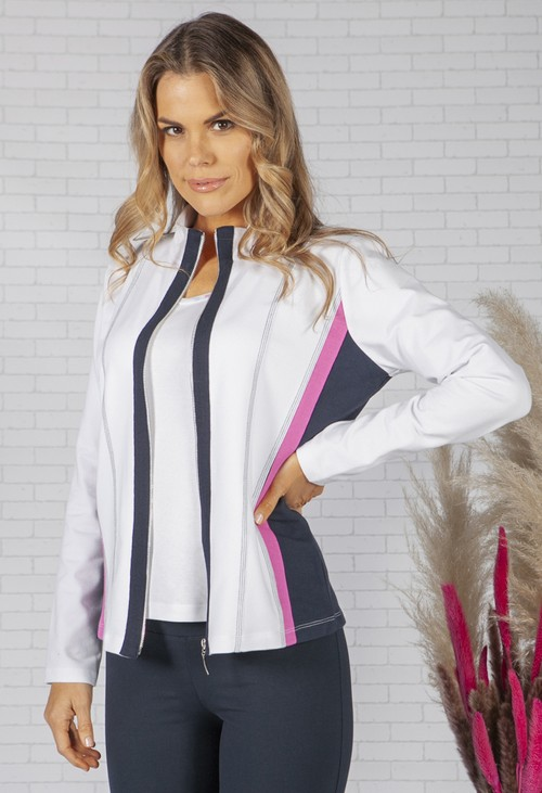Pamela Femme SOFT JERSEY ZIP UP JACKET WITH SIDE BAND DETAIL
