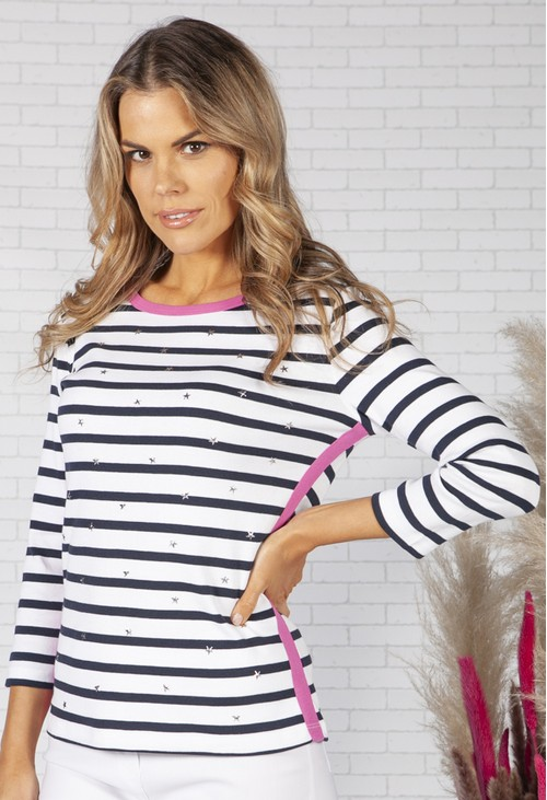 Pamela Femme STRIPE COTTON TOP WITH MINI STAR DETAIL