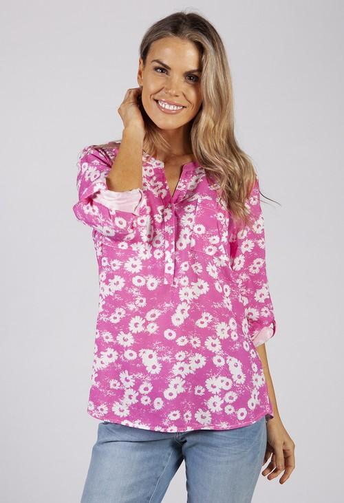 Twist Pink Daisy Print Blouse