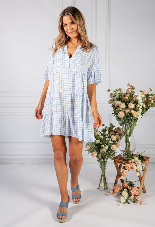 Pamela Scott Blue Checked Print Tiered Dress