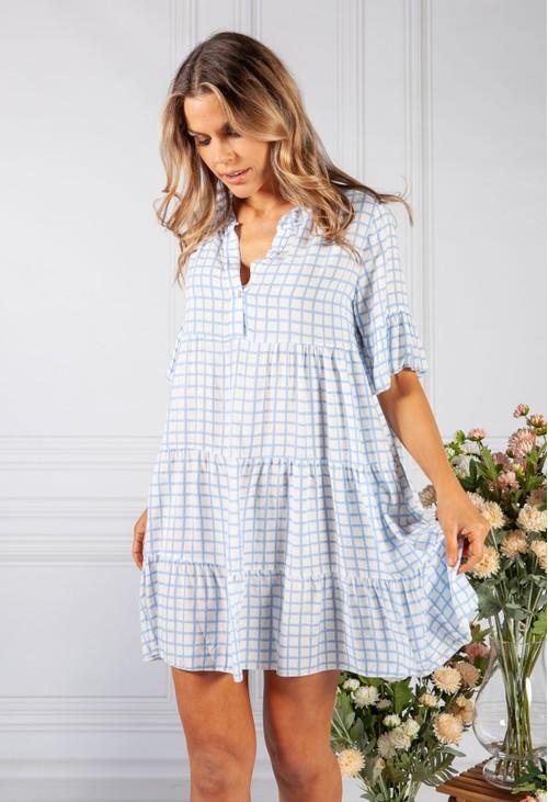 Pamela Scott Blue Checked Print Tiered Dress