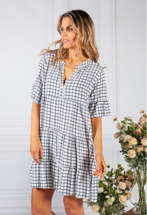 Pamela Scott Navy Checked Print Tiered Dress