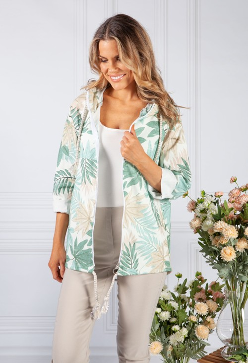 Pamela Scott Green Tropical Palm Print Jacket