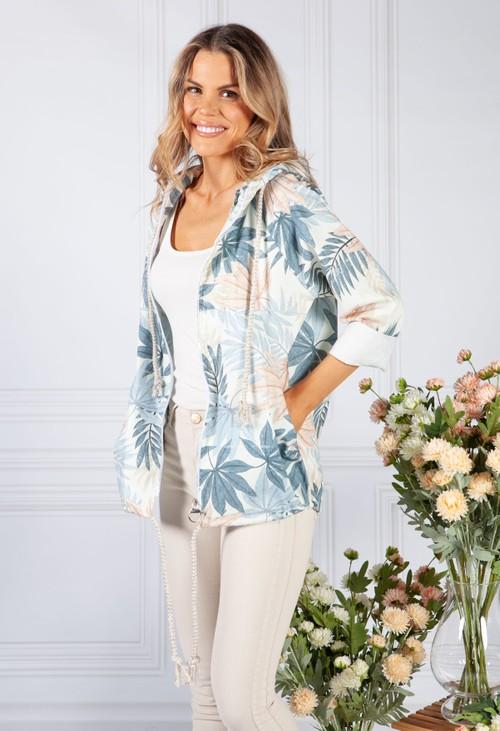 Pamela Scott Blue Tropical Palm Print Jacket