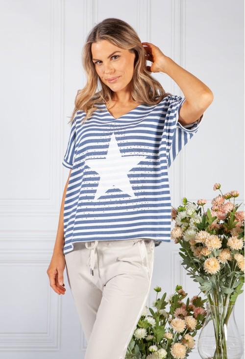 Pamela Scott Star Design Knit Top in Deep Blue