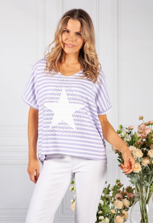 Pamela Scott Star Design Knit Top in Lilac