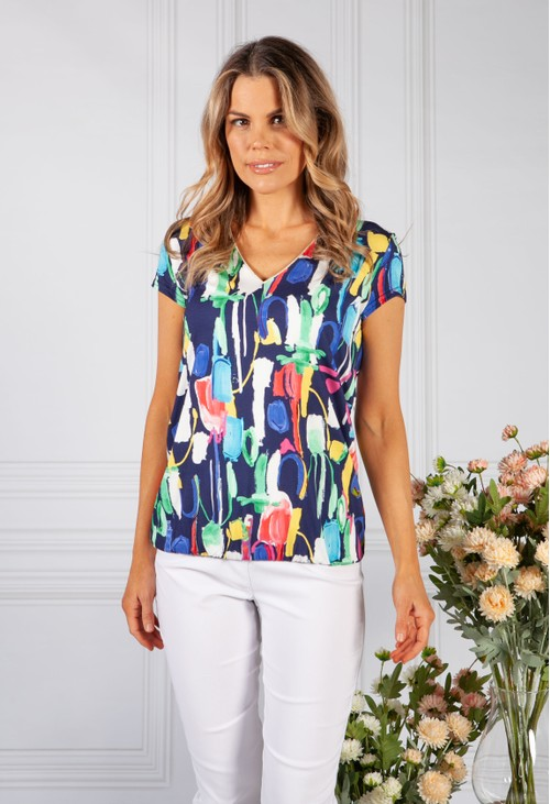 Sophie B abstract print top with elasticated hemline