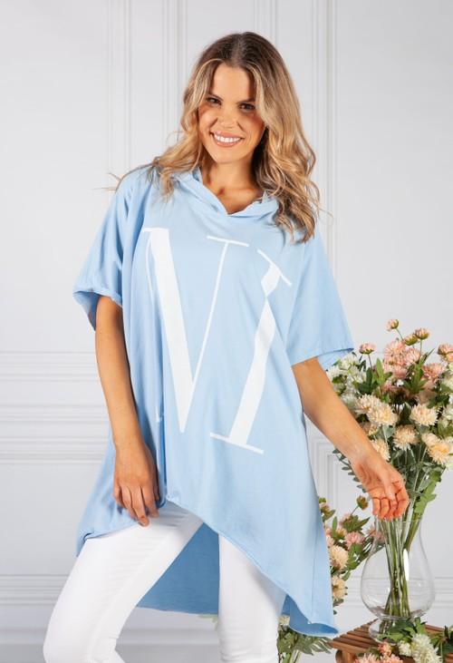Pamela Scott Sky Blue Over-sized 'nice' Jumper