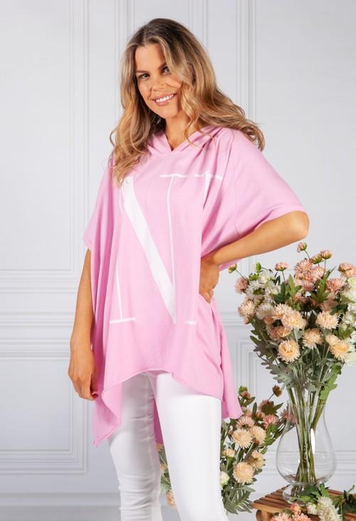 Pamela Scott Candy Pink Over-sized 'nice' Jumper