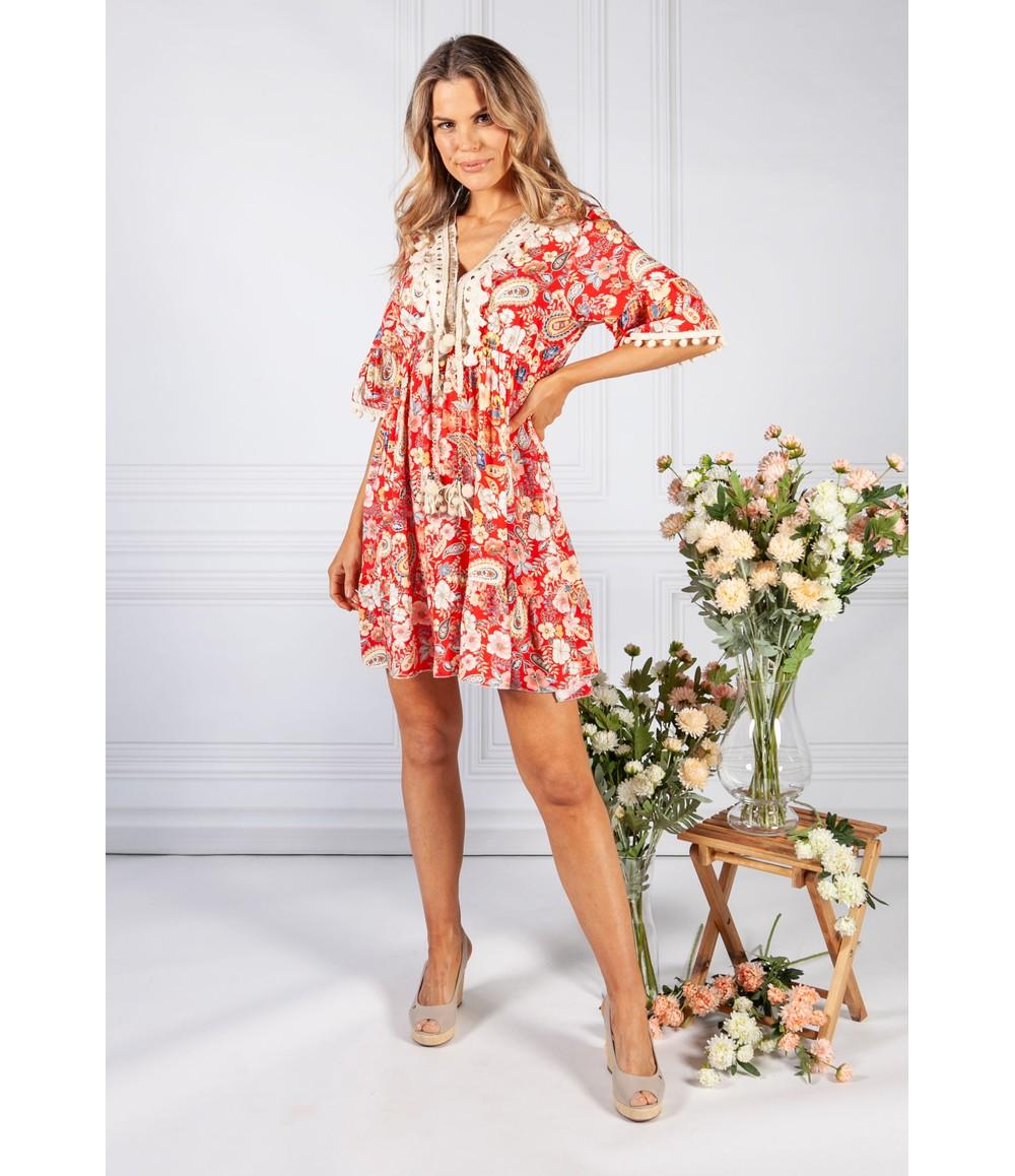 Pamela Scott Red Vintage Print Tassel Dress