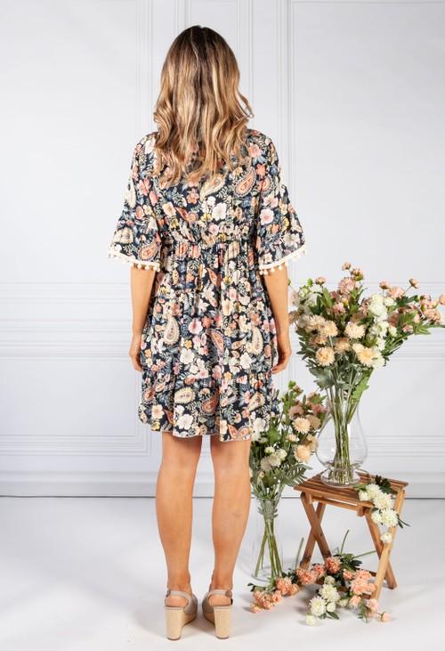 Pamela Scott Navy Vintage Print Tassel Dress