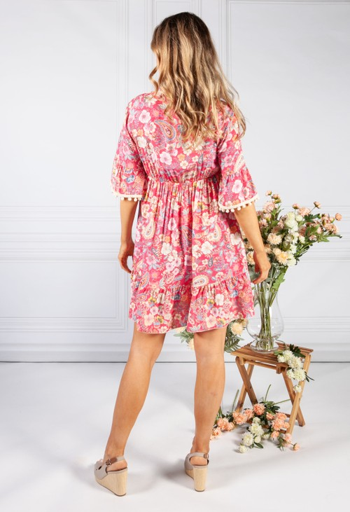Pamela Scott Fuchsia Vintage Print Tassel Dress