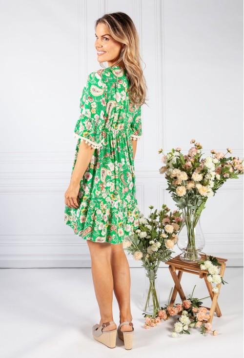 Pamela Scott Green Vintage Print Tassel Dress