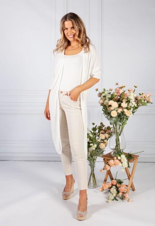 1 Cream Long Fine Knit Cardigan