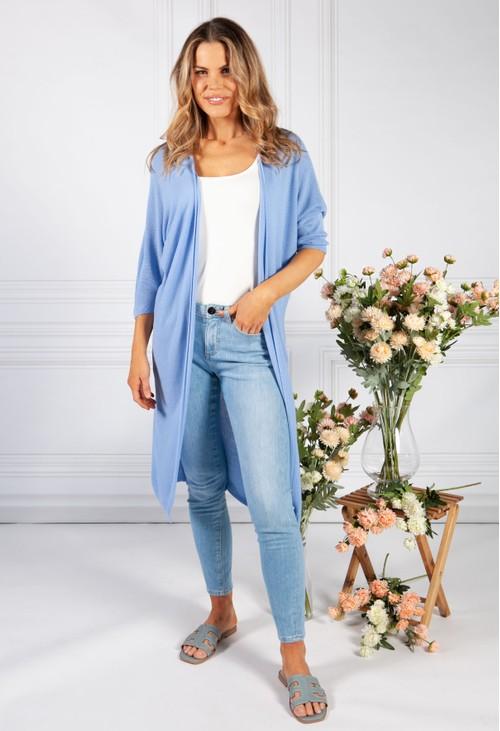 Pamela Scott Cornflower Blue Long Fine Knit Cardigan