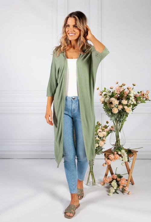 Pamela Scott Light Green Long Fine Knit Cardigan