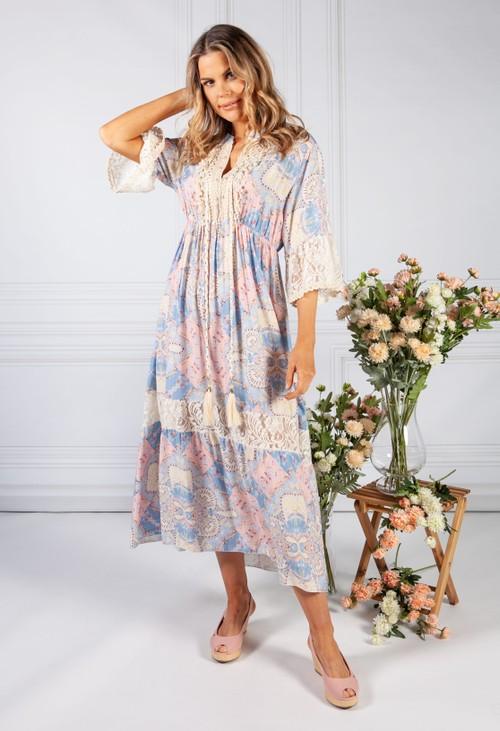 Pamela Scott Lace Detail Blue and Pink Dress