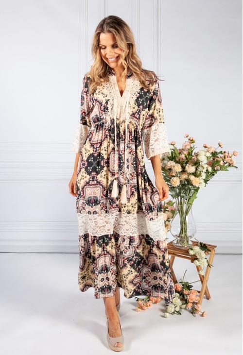 Pamela Scott Lace Detail Black and Cream Dress