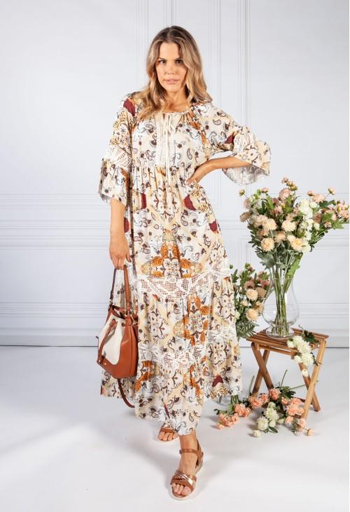 Pamela Scott Brown Vintage Print Boho Dress