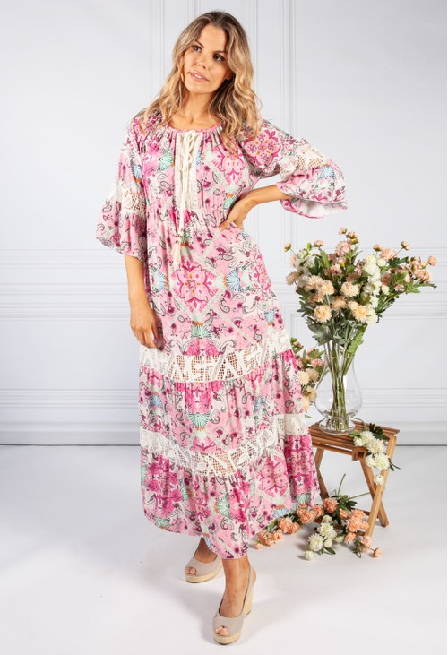 Pamela Scott Pink Vintage Print Boho Dress