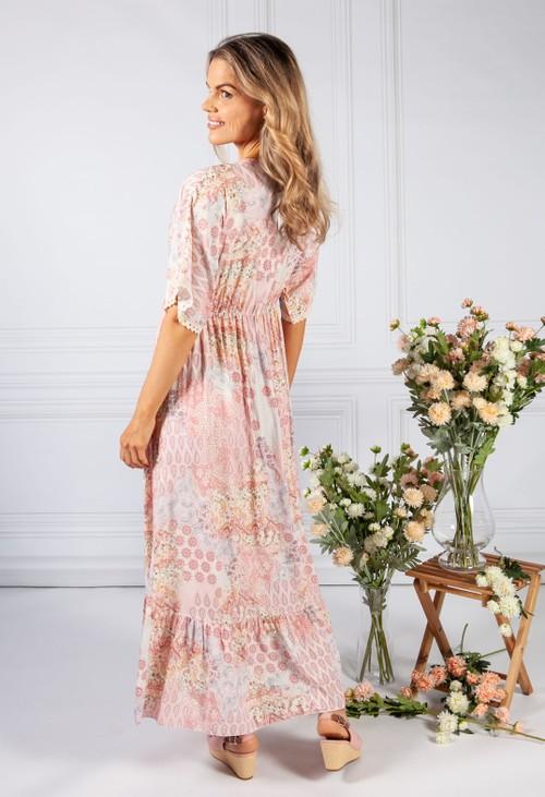 Pamela Scott Soft Pink Paisley Print Lace Trim Dress