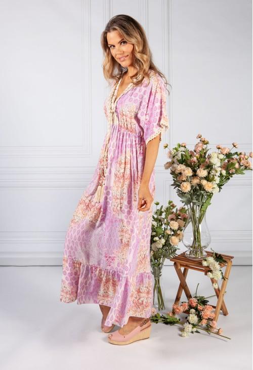 Pamela Scott Soft Lilac Paisley Print Lace Trim Dress