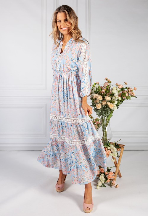 Pamela Scott Sky Blue Cherry Blossom Print Dress