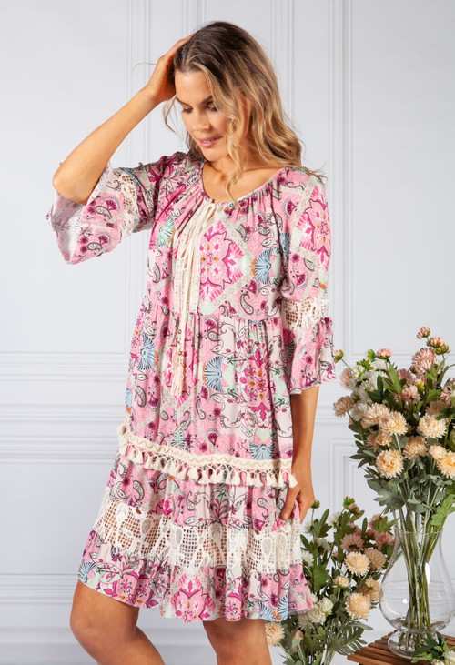 Pamela Scott Bright Pink Abstract Print dress with Lace Details