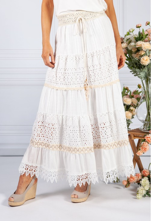 Pamela Scott Cream Boho Lace Layered Skirt