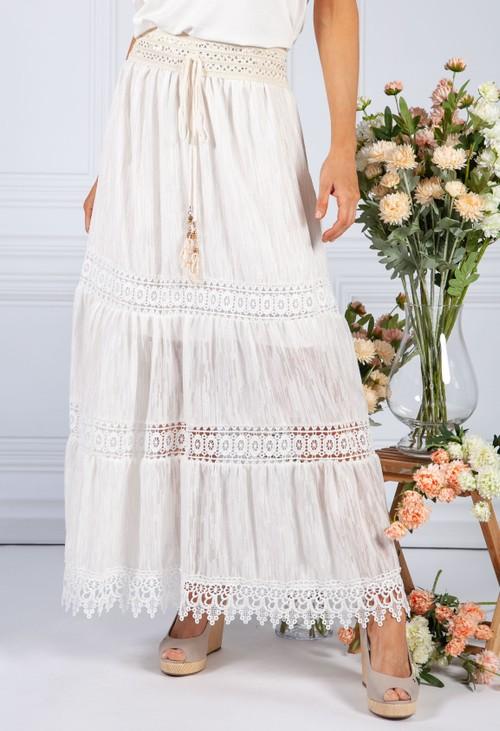 Pamela Scott Lace Boho Skirt with Gold Detailing