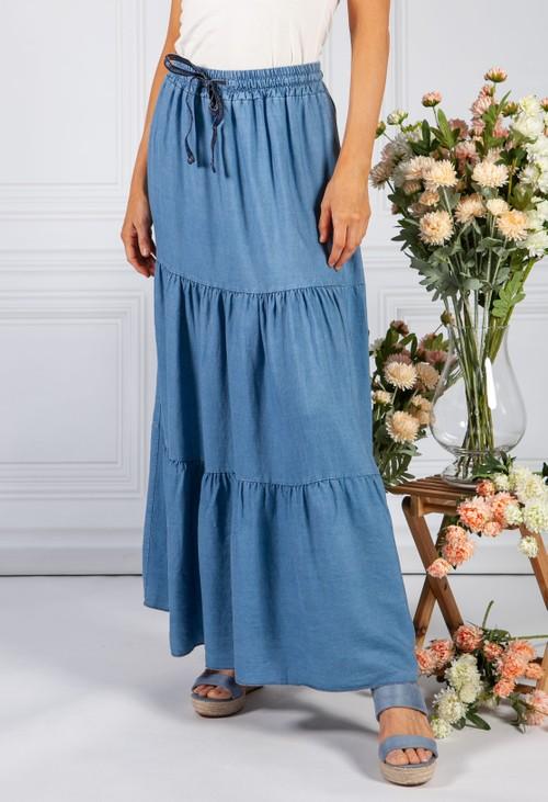Pamela Scott Tiered Denim Skirt