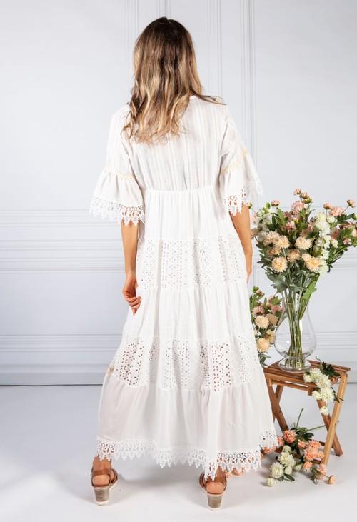 Pamela Scott Cream Boho Inspired Lace Trim Dress