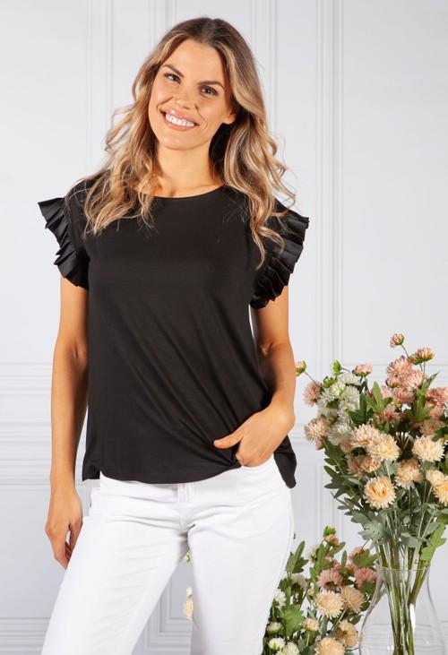 Pamela Scott Black Frill Sleeve Top