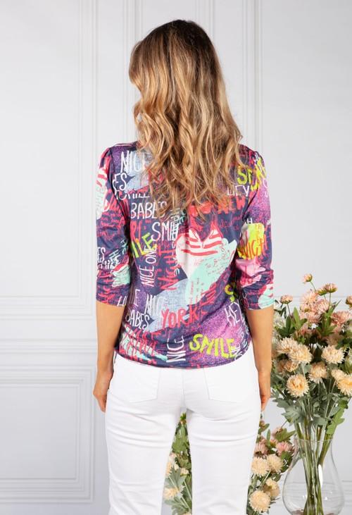 Sophie B navy graffiti print shirt
